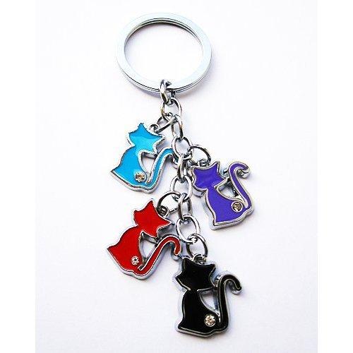 Katzen Schlüsselanhänger mit Zirkoniasteinen