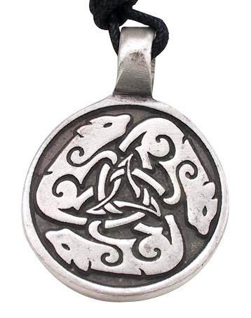 Hunde Hund Wolf Keltischer Kreis Metall Anhänger Halskette